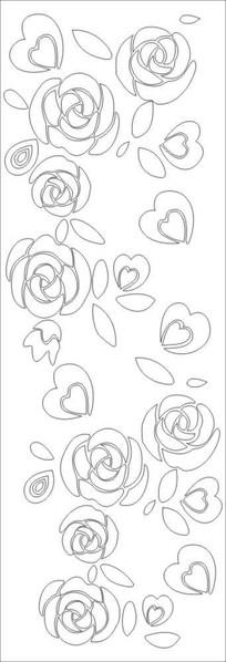 玫瑰情缘雕刻图案 CDR