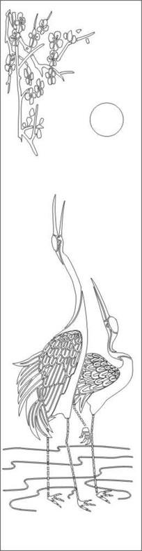 梅花鹤雕刻图案