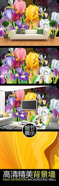 手绘水粉花卉图案电视背景墙