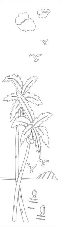 椰子树风景雕刻图案