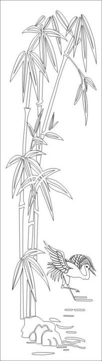 竹子仙鹤雕刻图案