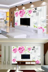 3d圆球玫瑰花纹电视背景墙