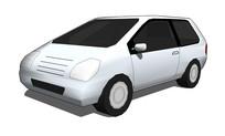 白色自动挡汽车su模型