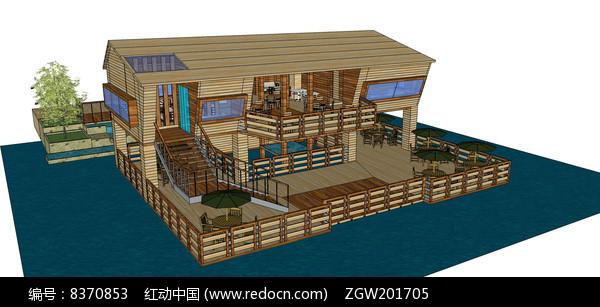 滨水度假别墅模型图片