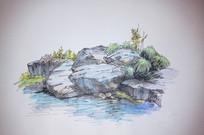滨水景石手绘效果图