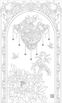 大富贵牡丹中式玄关雕刻图案