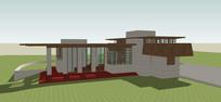 带花园现代别墅模型