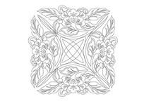 大叶牡丹雕刻纹样