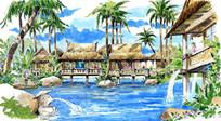 度假村手绘效果图