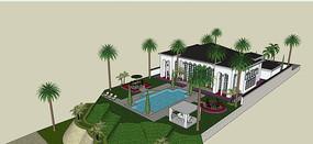 海滩高档建筑模型