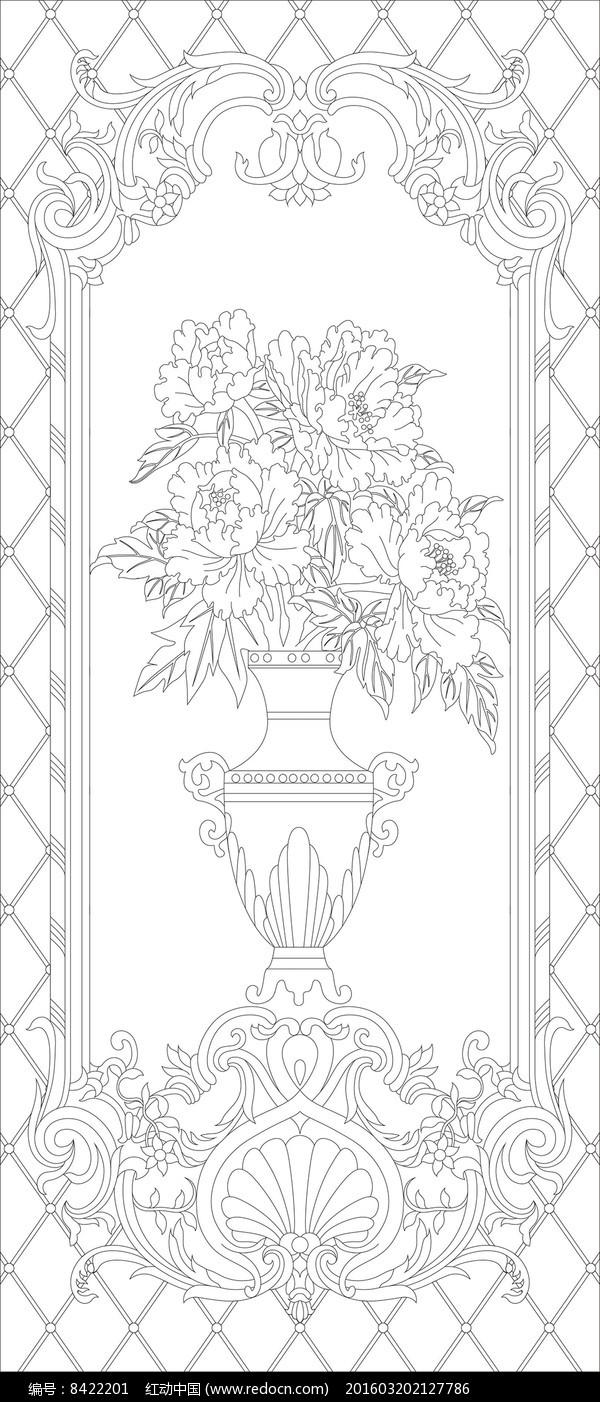 花瓶欧式花纹玄关雕刻图案