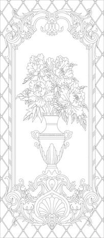 花瓶欧式花纹玄关雕刻图案 CDR