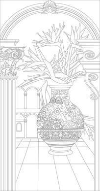 花瓶欧式立体玄关雕刻图案