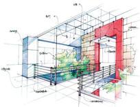 建筑入口手绘效果图