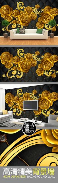 金色立体玫瑰软包电视背景墙