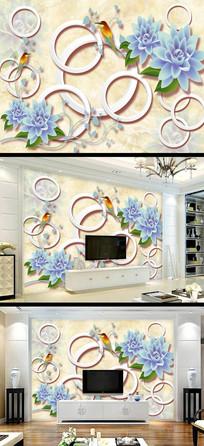 蓝色花朵大理石电视背景墙