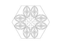 六边形漏窗雕刻纹样