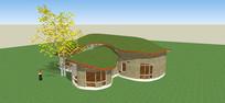绿化屋顶建筑模型