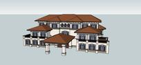 美式豪华别墅建筑模型