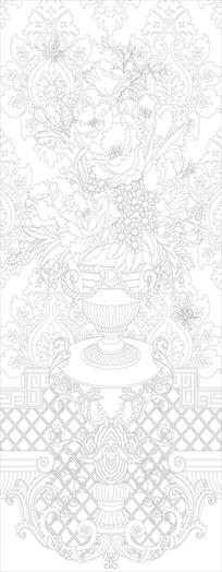 欧式豪华花瓶玄关雕刻图案