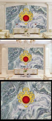 欧式皇室花纹客厅电视背景墙