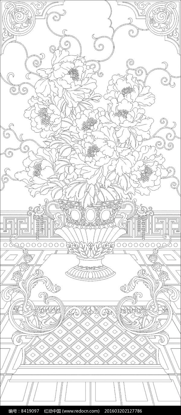 欧式花瓶花纹雕刻图案玄关