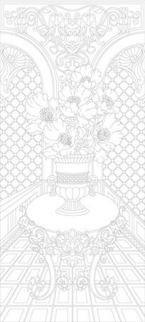 欧式奢华花瓶桌子雕刻图案
