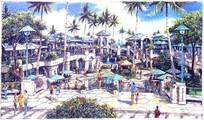 商业街景观效果手绘