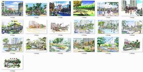 生活区景观手绘效果图