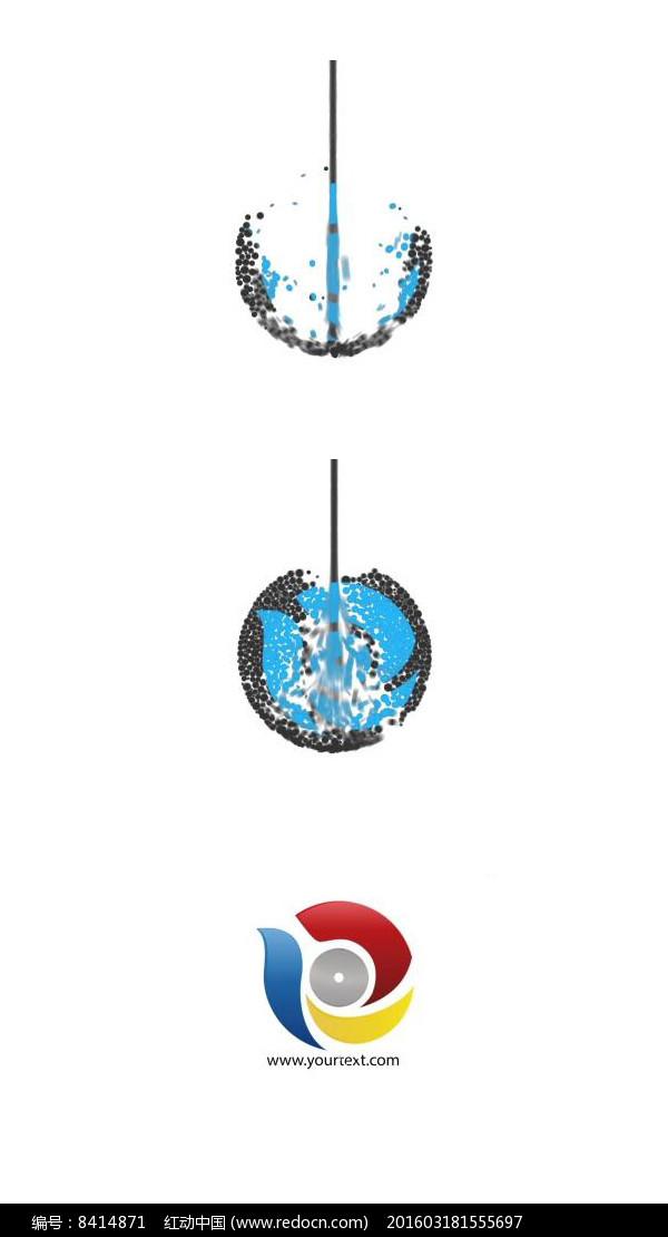 水滴汇聚集合成logo标志片头视频图片