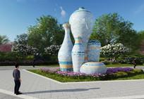 陶瓷花瓶雕塑模型