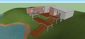 现代山地别墅模型