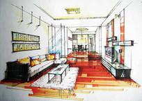 小尺寸客厅手绘设计效果图