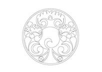 圆形传统图案雕刻纹样