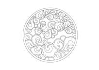 圆形祥云镂空雕刻纹样