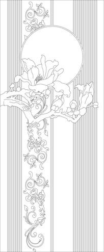 中式玉兰花纹雕刻图案玄关 CDR