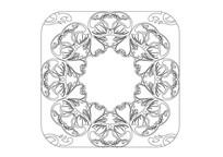 中心镂空心形雕刻纹样
