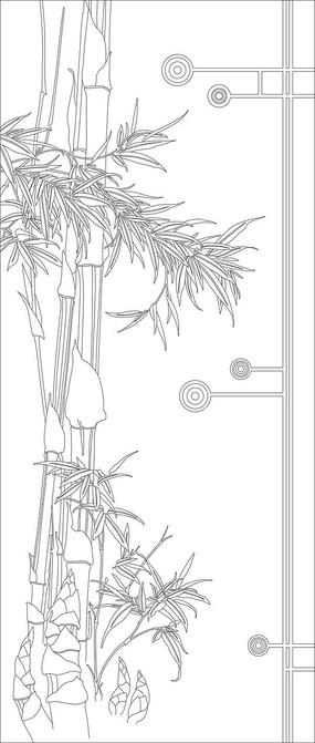 竹子彩雕玄关雕刻图案