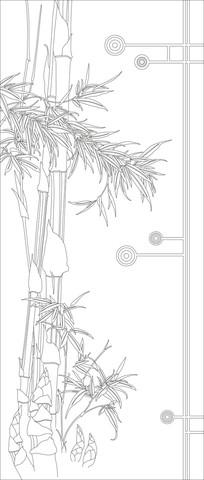 竹子彩雕玄关雕刻图案 CDR