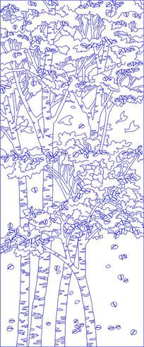大树风景玄关雕刻图案