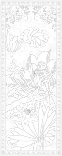 荷花花纹玄关雕刻图案