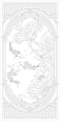 荷花锦鲤欧式花纹玄关雕刻图案