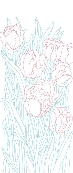 花朵玄关雕刻图案