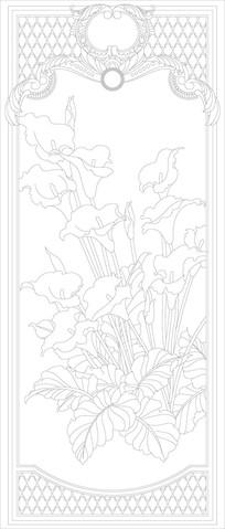 喇叭花欧式花纹玄关雕刻图案