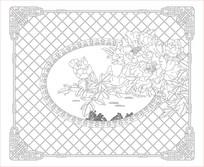 牡丹花鸟花纹背景墙雕刻图案
