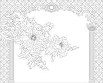 牡丹欧式花纹背景墙雕刻图案