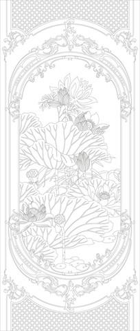 欧式荷花花纹玄关雕刻图案