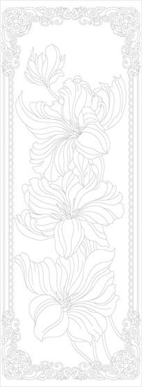 欧式花朵花纹玄关雕刻图案