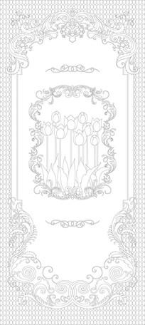 欧式鲜花花纹玄关雕刻图案
