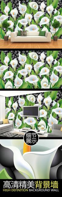 清新花卉艺术电视背景墙